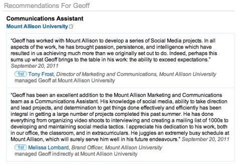 Geoff Campbell - Mount Allison University Recommendations