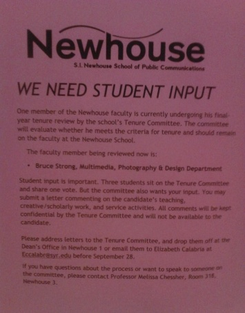 S.I. Newhouse School of Public Communications Tenure Committee Call for Student Input