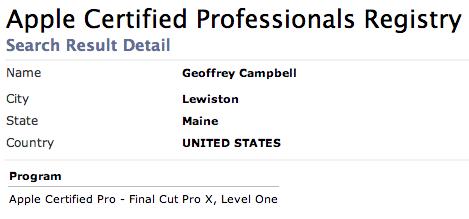 Final Cut Pro X Certification – Geoff Campbell