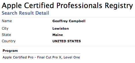 Final Cut Pro X Certification