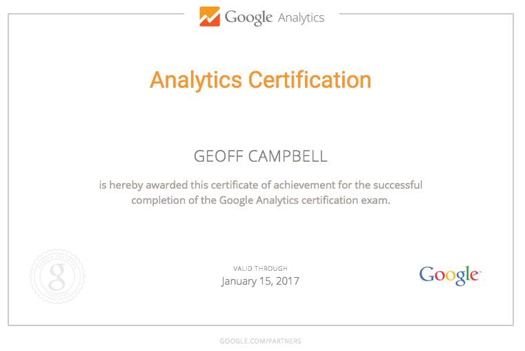 Google Analytics Re Certification Geoff Campbell