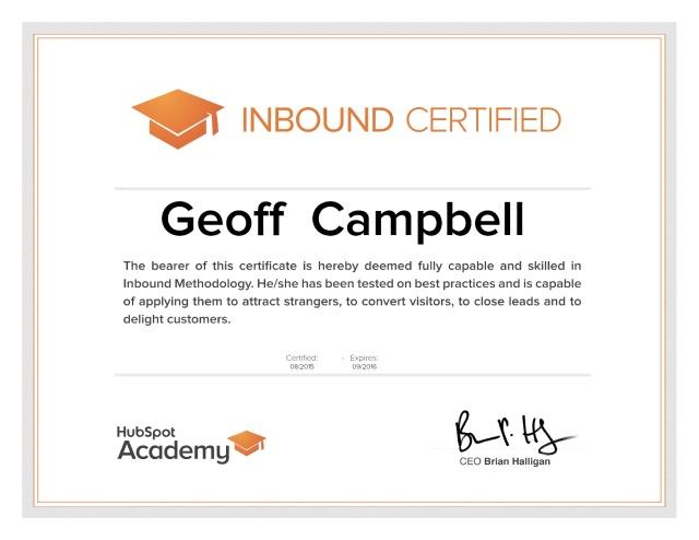 HubSpot Academy Inbound Certification – Geoff Campbell
