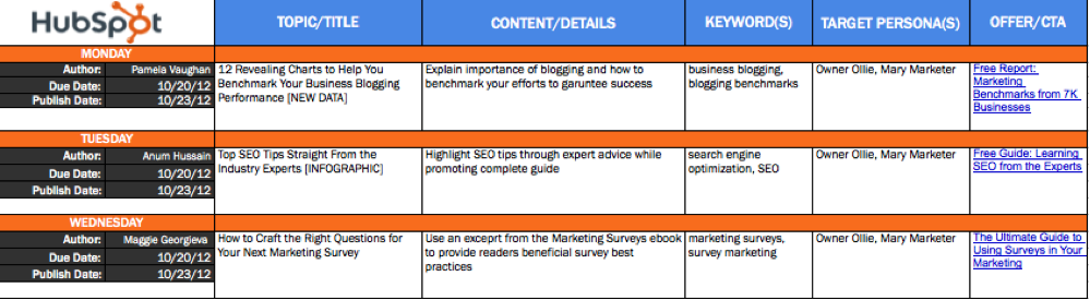 content calendar for digital  social media publishing