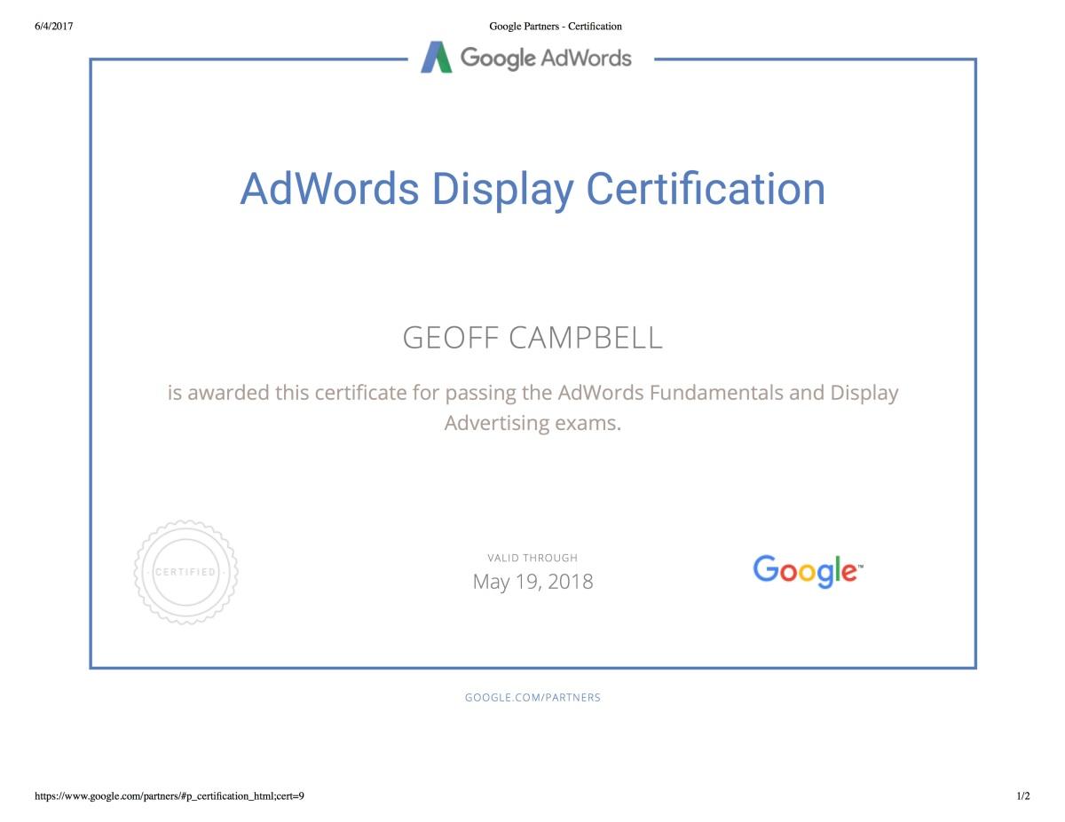 Adwords Display Certification Exam