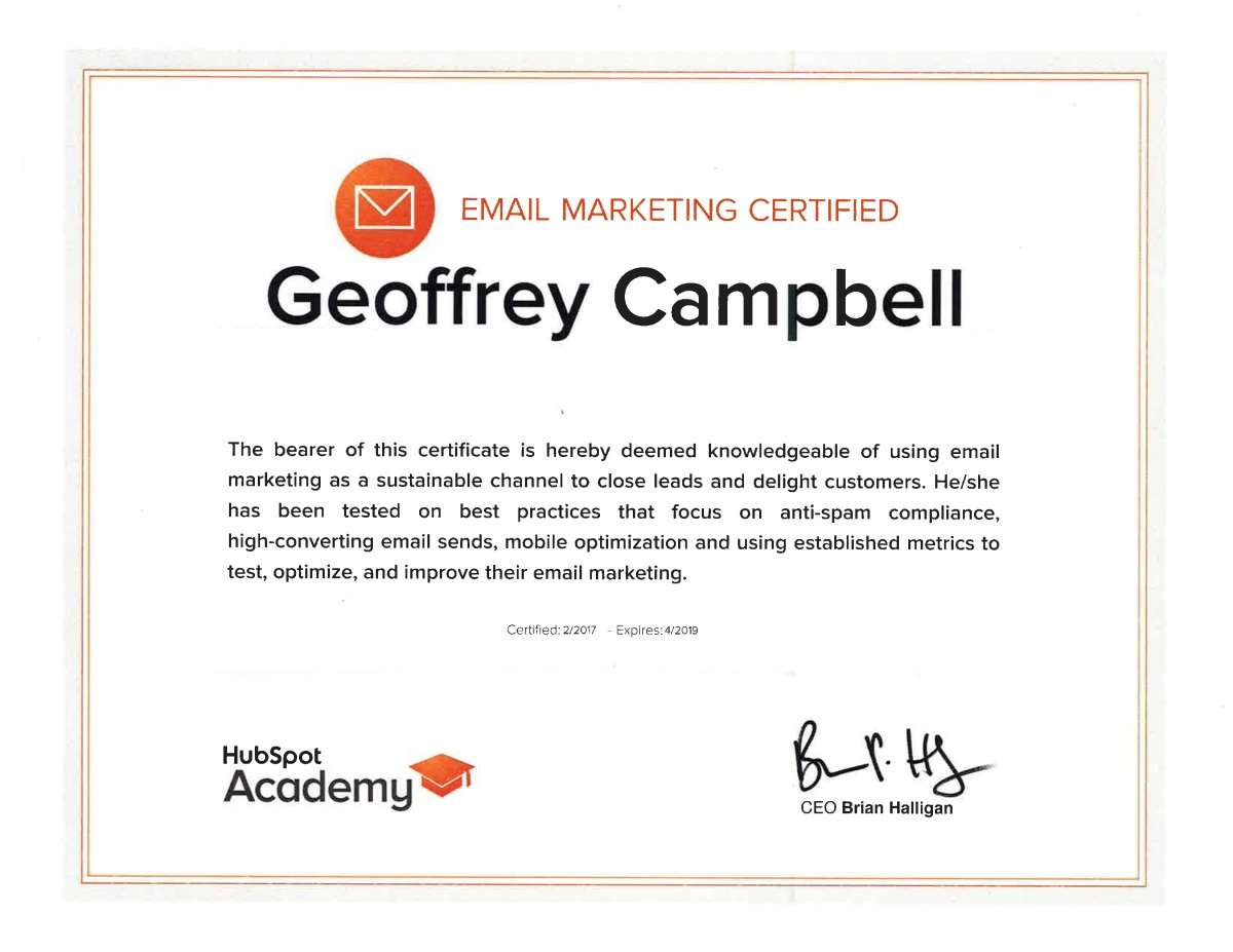 Hubspot Email Marketing Certification Geoff Campbell