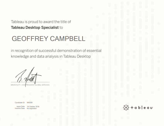 Tableau Desktop Specialist